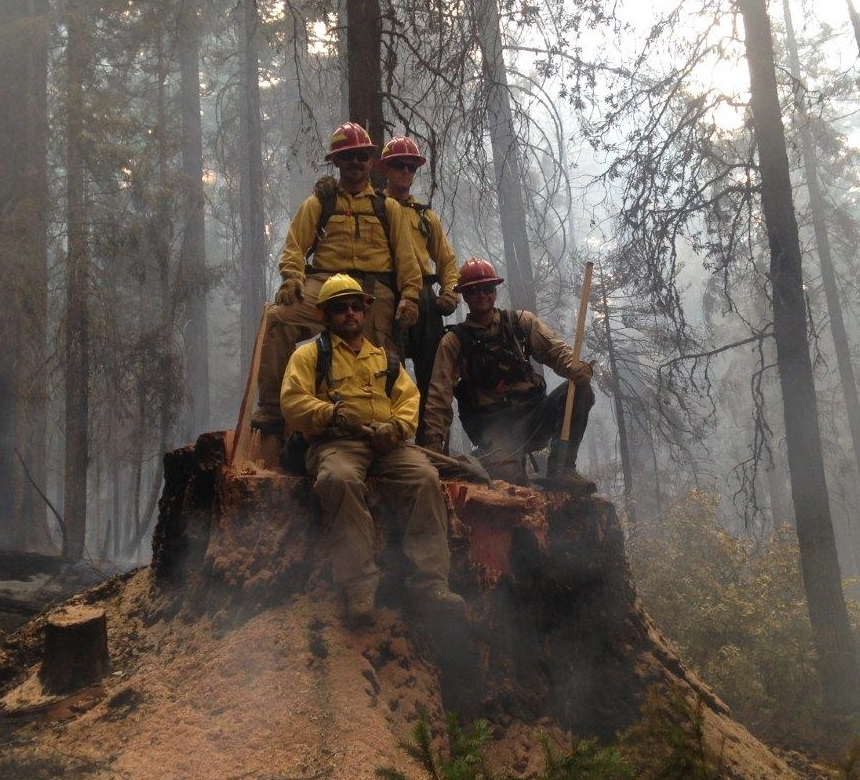 Here are some of our wildland firefighters taking a quick break on a stump they could park a small car on.